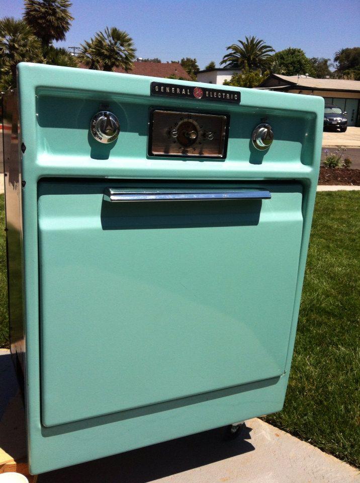 Vintage Ge Wall Oven Range Hood Cooktop Electric Teal Turquoise Aqua Mcm Kitchen Ebay Oven Range Hood Wall Oven Oven Range