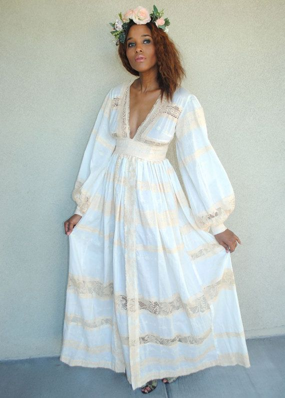 Vintage white cotton empire waist maxi dress boho wedding for Bohemian white wedding dress