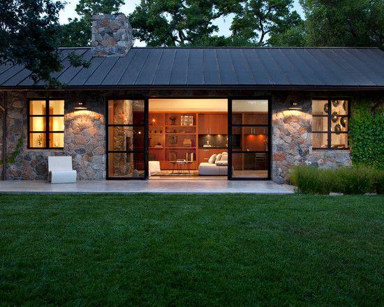 Modern Stone Cottage intriguing house cottage design with grey sofa set: modern