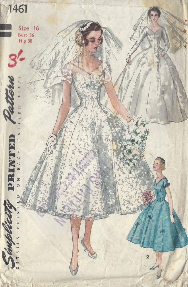 1955 Vintage Patrón De Costura B36 NOVIA, BRIDESMAID VESTIDO, VELO ...