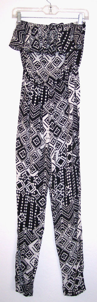 Ally Romper 6 Black White Rayon Jumpsuit Retro Hippie Boho Tribal Sexy Playsuit  #Ally #Jumpsuit