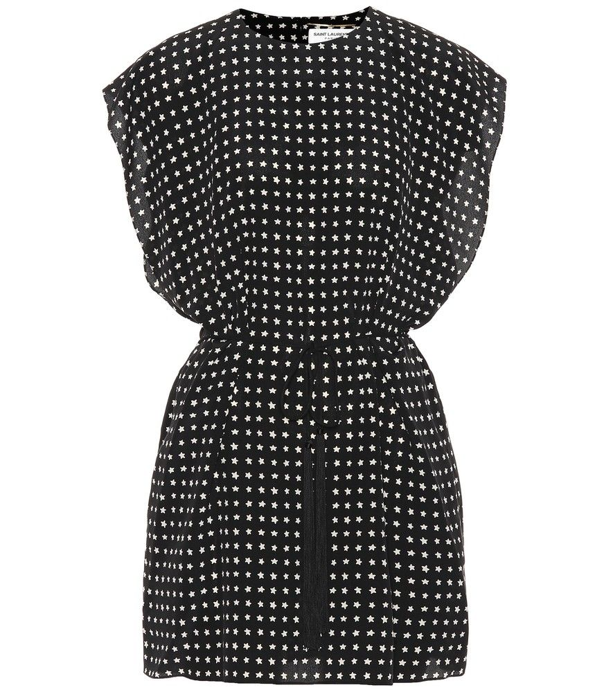 7edf5d90e06 Saint Laurent - Printed silk dress - Saint Laurent's minidress has been  crafted from whisper-weight silk and has been covered with white stars – a  ...