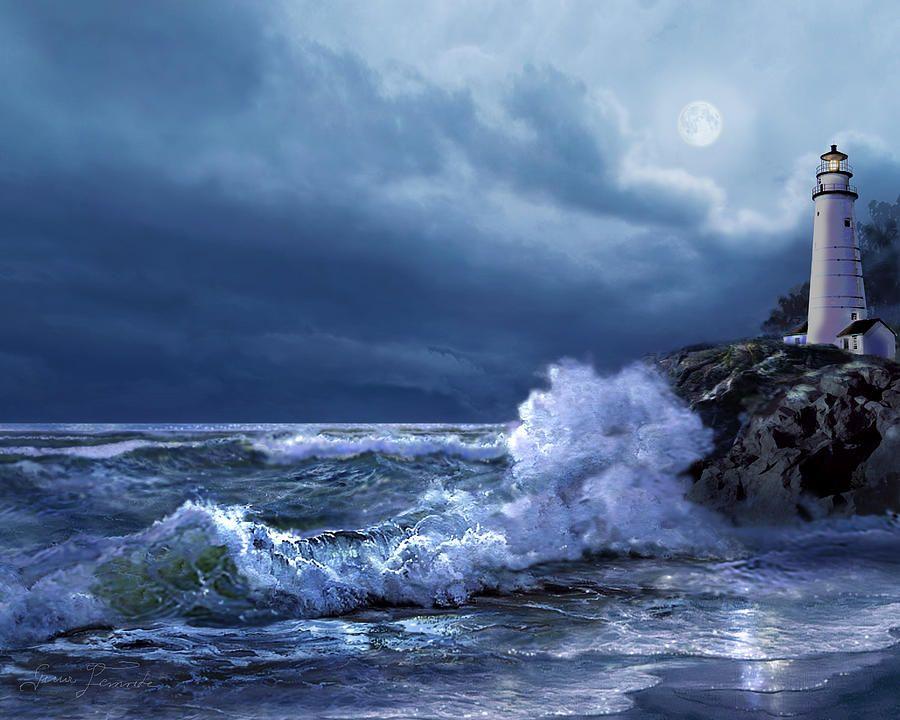 Boston Lighthouse At Moonlight Art Print Painting Boston