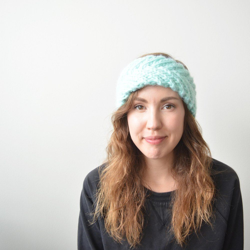 This braided headband pattern uses super bulky yarn making for a ...