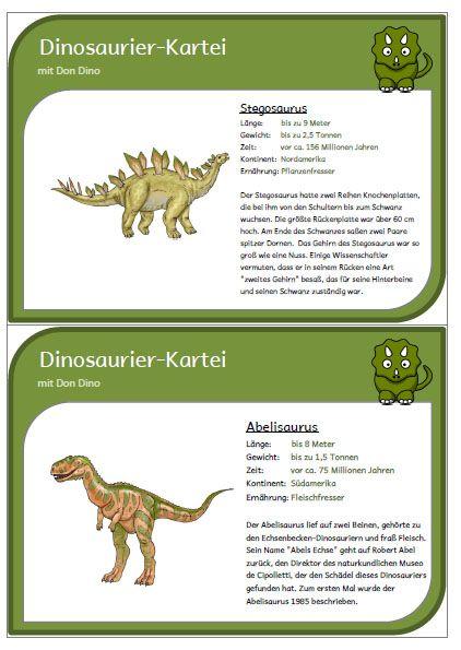 Dinosaurier-Kartei mit 38 Karten