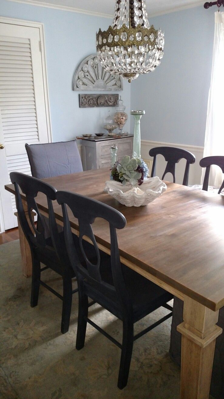 My finished refinished dining room furniture ascp chairsdriftwood liquid stain ikea slip covered chairs