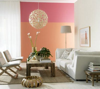 Peach and pink color block cool slightly self conscious seating arrangement but still like
