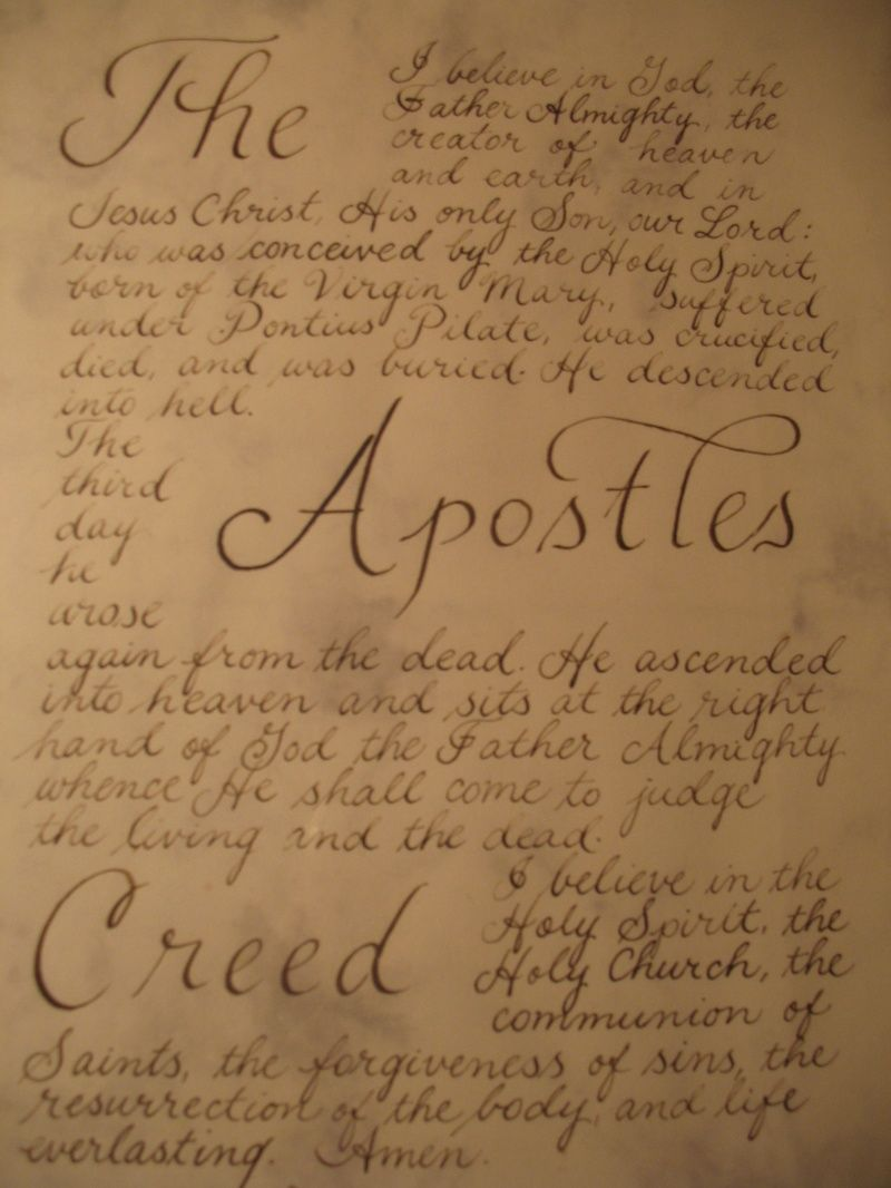 The Apostles Creed. I'd love to have this tattooed somewhere (not this design in particular, but the words).