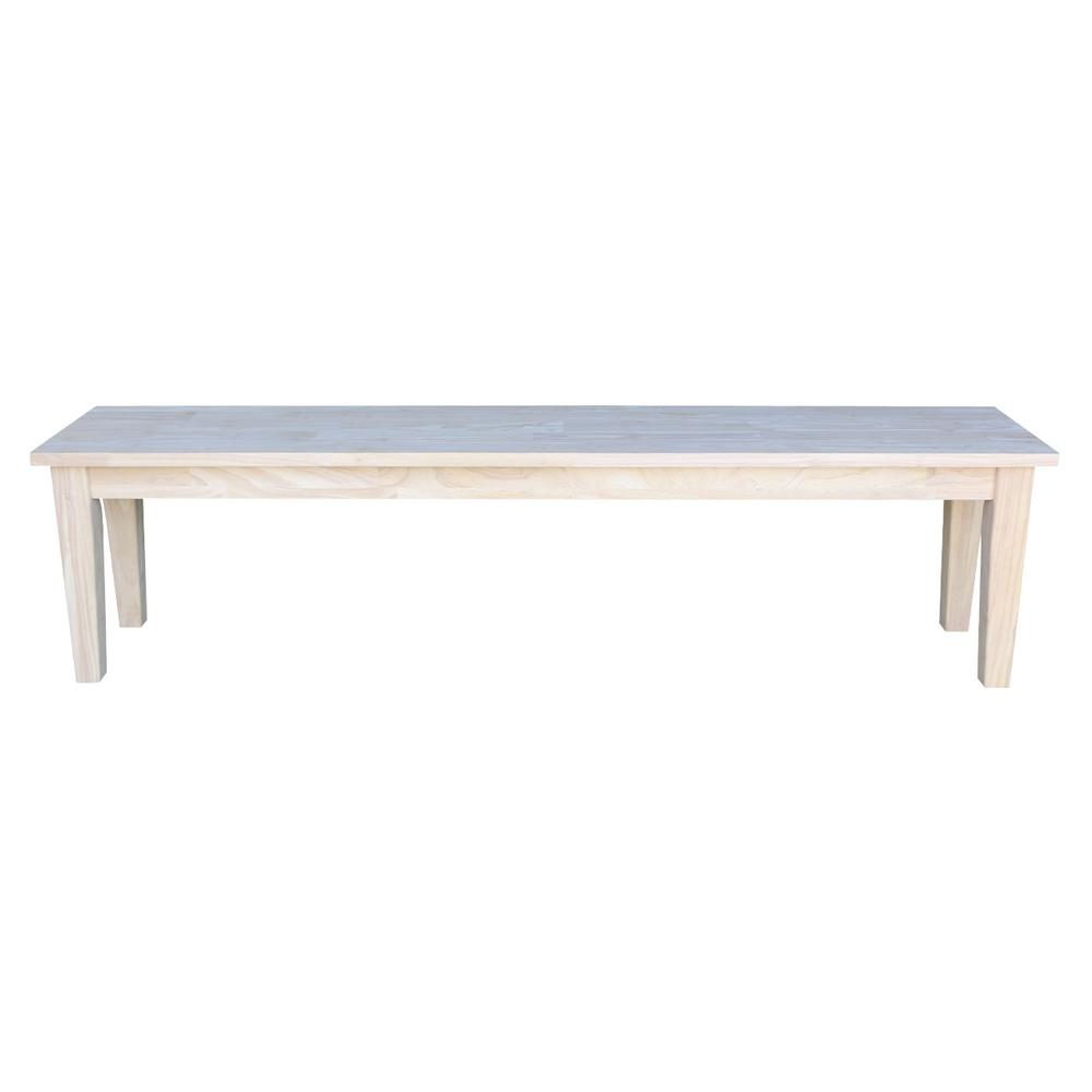 International Concepts BE-72S Shaker Style Bench Unfinished,