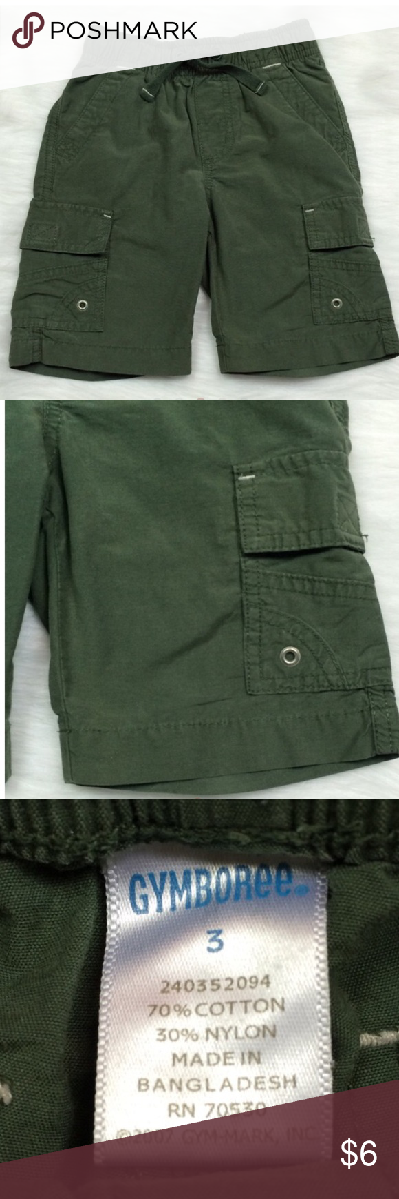 🚲 Gymboree Olive Cargo Shorts cotton/nylon. Easy pull-on style. Front and back pockets. Touch-close cargo pockets. Gymboree Bottoms Shorts