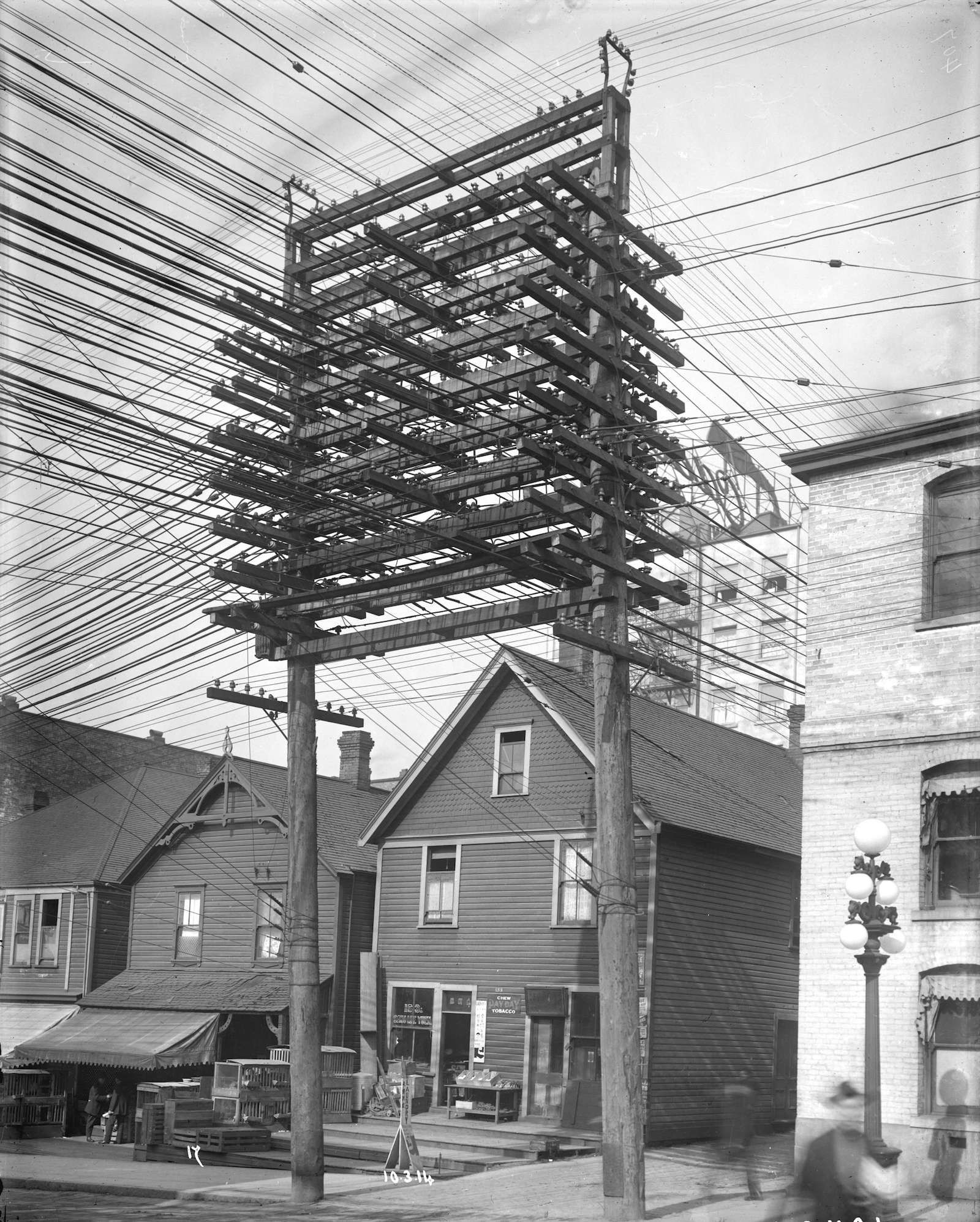 photos from the days when thousands of cables crowded the skies Residential Wiring History Residential Wiring History #51 history of residential wiring