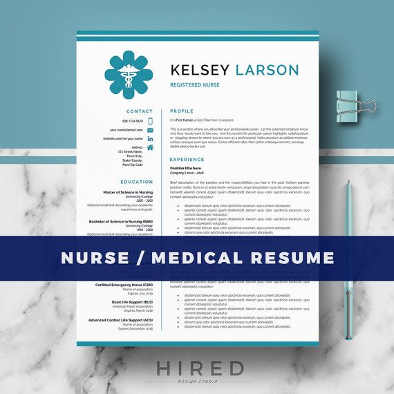 Nurse Resume Template | Doctor Resume Template for MS Word and Pages ...