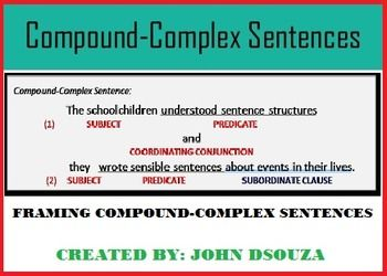 compound complex sentences lesson and resources my tpt resources