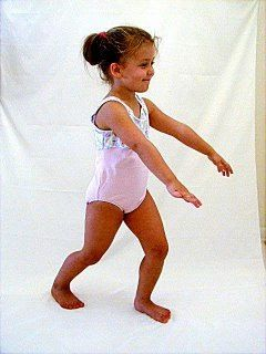 Teach you kids this basic body position: a LUNGE.  Whether for the 'get ready to run' starting or step along side a soccer ball, the LUNGE provides a good base for action! More teaching hints for caregivers at kidskills.com. in our KidSKILLS Movement and Sports Training Program. Our Kindle eBooks can aid teaching, too.