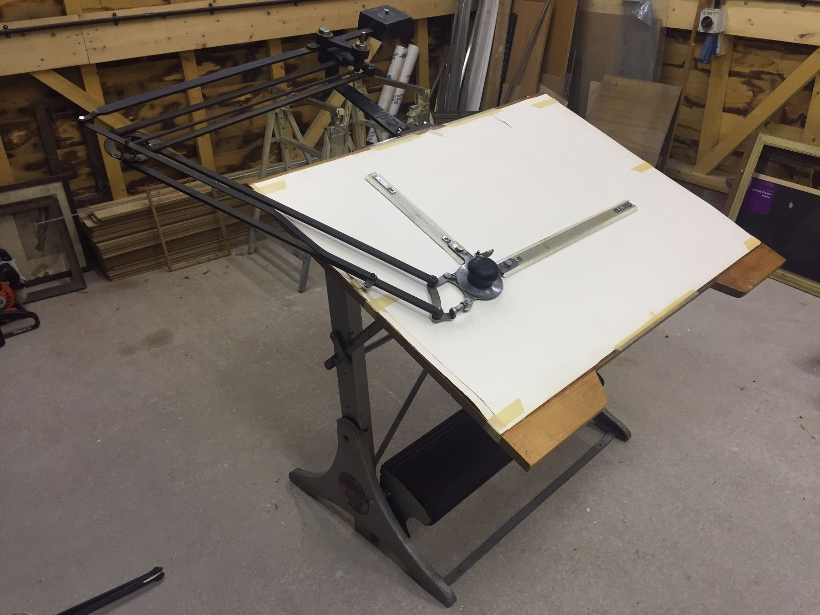 ADMEL Architects Drawing Board + Mavitta Draughting Arm BRITISH ANTIQUE  TABLE In Business, Office U0026