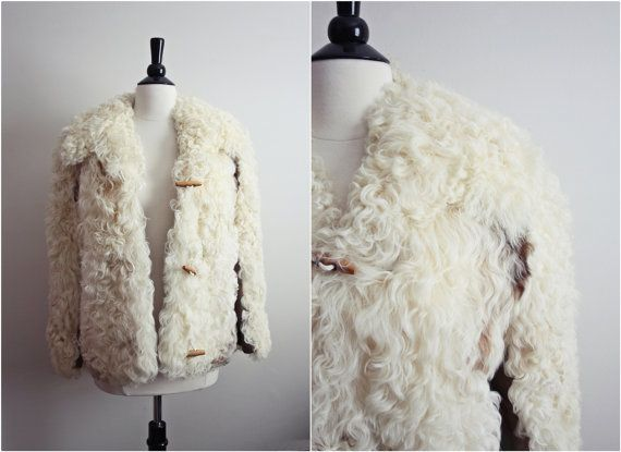 Vintage Cream Mongolian Curly lamb Fur & Leather Toggle Bohemian ...