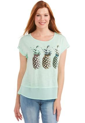 9cb57698699 Cato Fashions Layered Look Pineapple Tee-Plus  CatoFashions