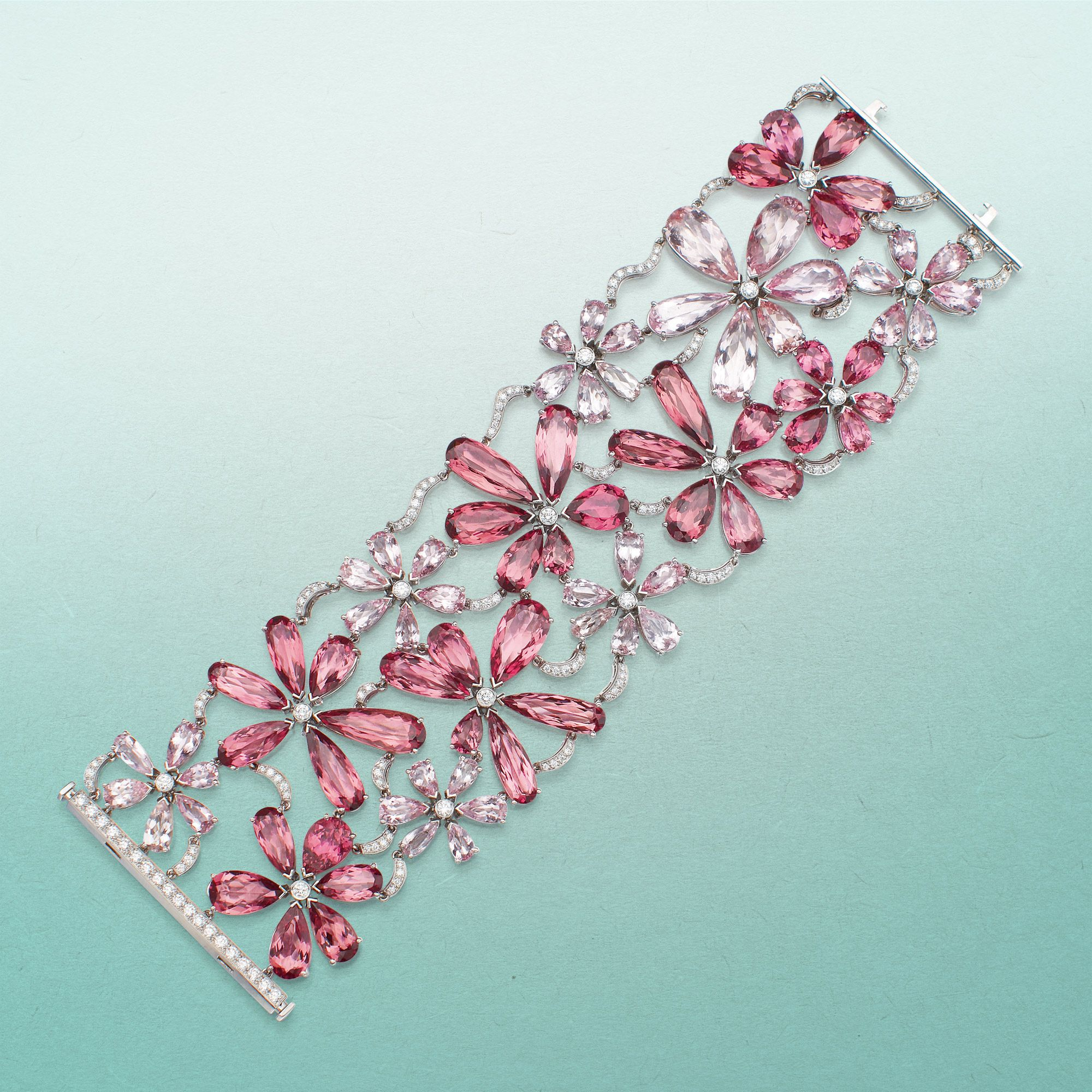 Pink tourmaline morganite and diamond bracelet tiffany u co