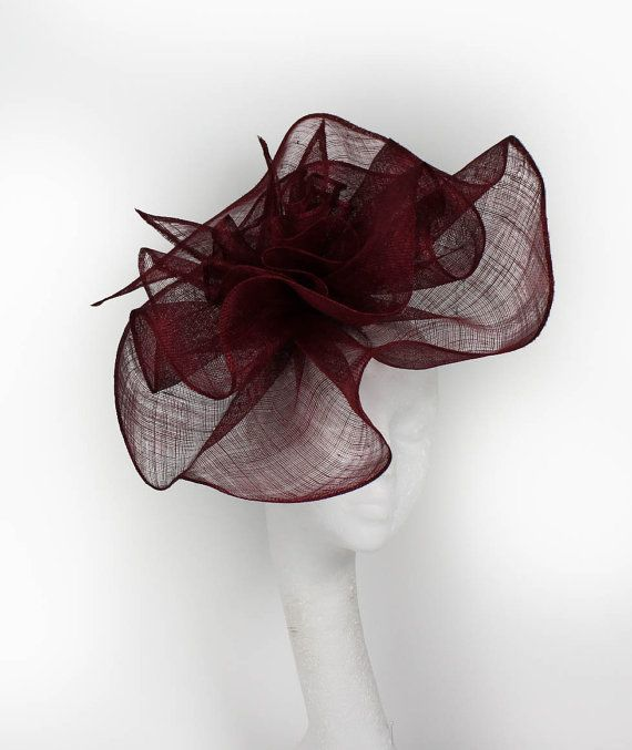 Burgundy Fascinator Hat for Weddings Cocktails by Hatsbycressida ... 4f2a9785856