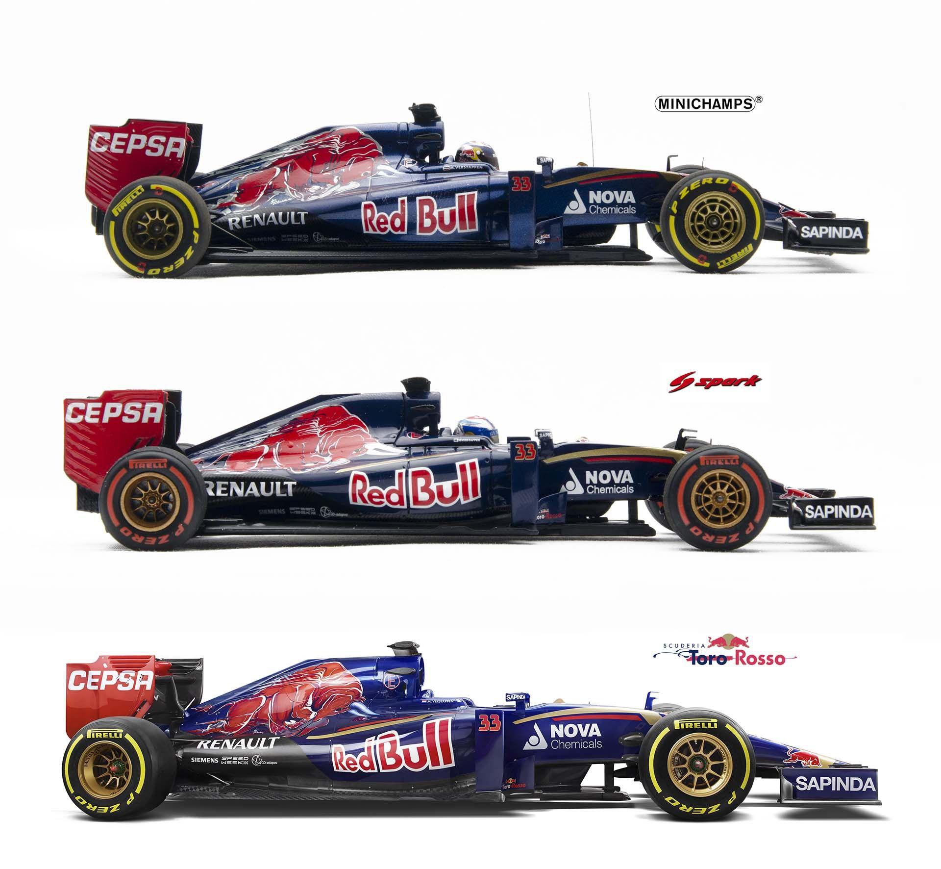 Minichamps Vs Spark Models Toro Rosso Str10 Max Verstappen Side