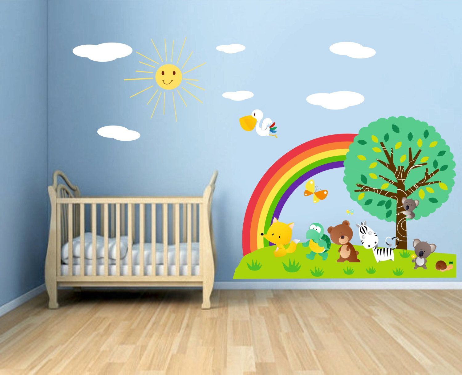 Rainbow And Sun Full Color Wall Decal Kit Reusable Vinyl Fabric Repositionable Decal Nursery Room Decals