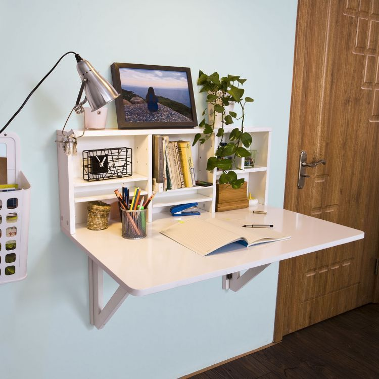 Wall Mounted Drop Leaf Table With Shelves