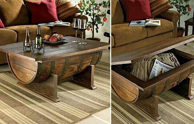 Handmade Whiskey Barrel Table :)