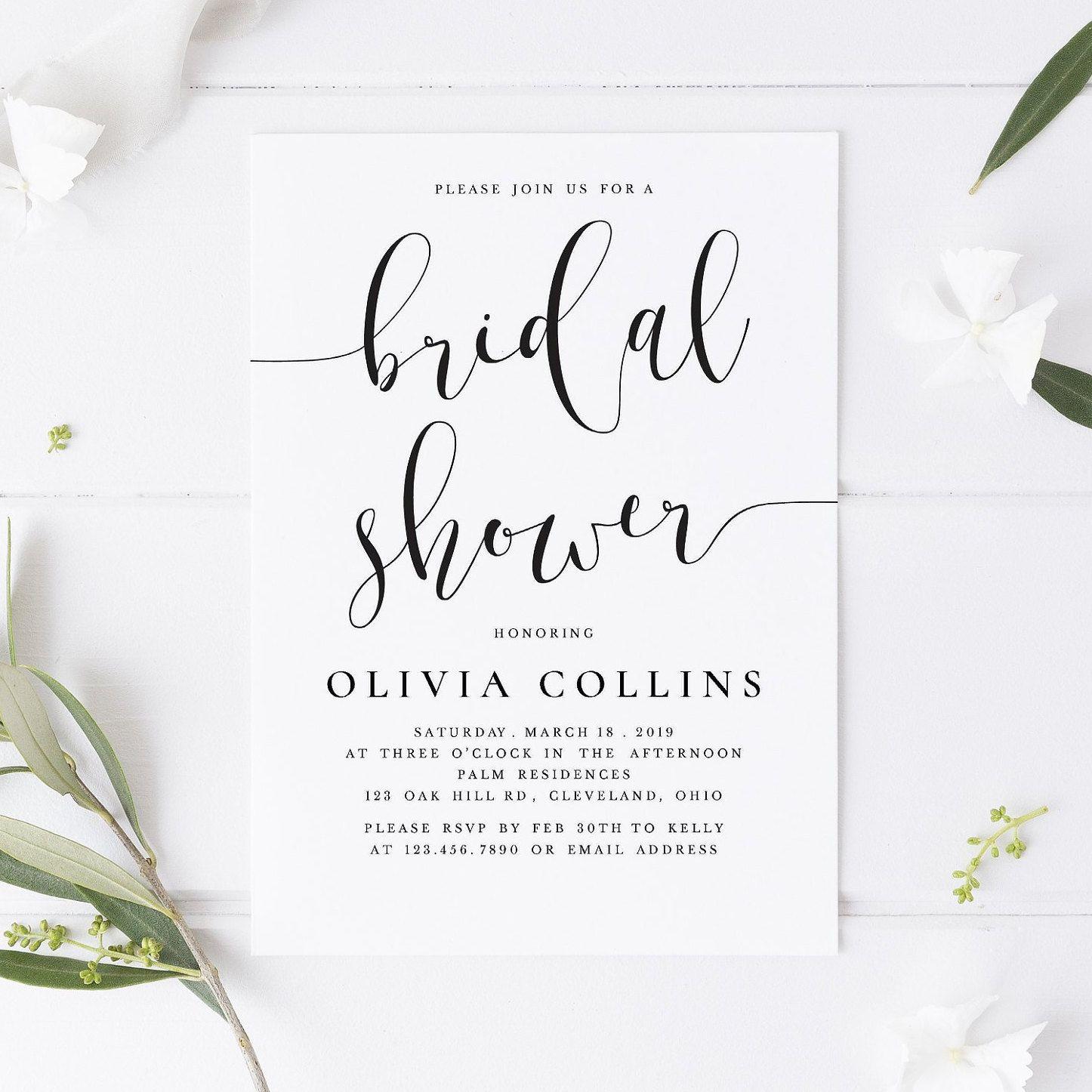 Bridal Shower Invitation Wedding Invitation Bridal