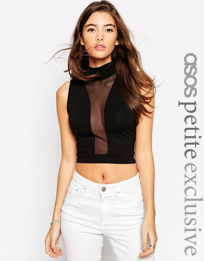 e847f7ef82e67 Black ASOS PETITE Sleeveless Top With High Neck And Mesh Front.  sexy   evening  womensfashion