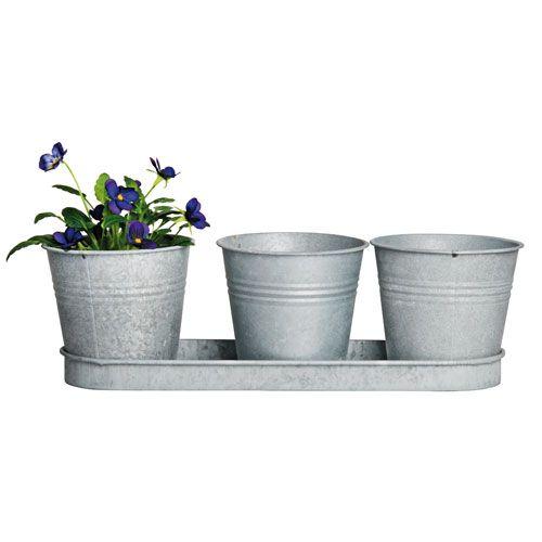 Pots de fleurs (par 3) avec réservoir à eau - zinc patiné
