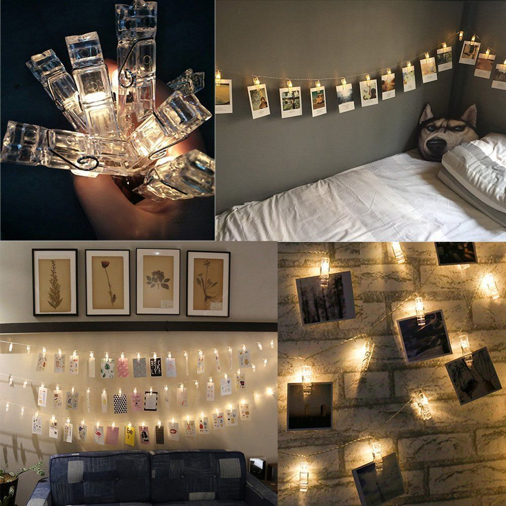Led Photo Clips String Lights With 20 Clips Battery Operated