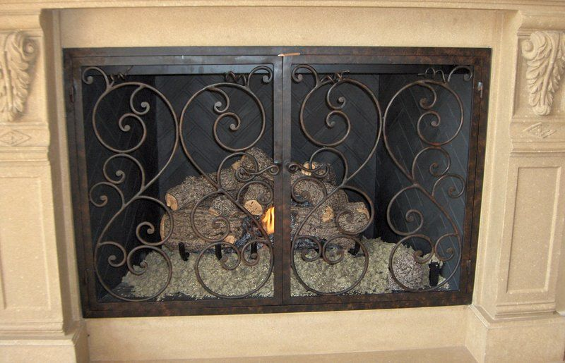 Fireplace Screen With Bronze Scroll Work Hinged Custom Built For A