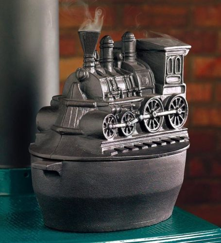 Train Wood Stove Steamer Cast Iron Kettle Fireplace
