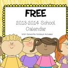 This is a 2013-2014 Calendar in a pdf format. The calendar has all corresponding dates and covers the months of August-June. It is organized with M...