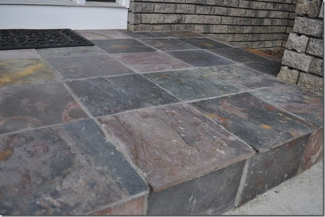 Slate Tile Porch Porch Tile Porch Flooring Front Porch Makeover