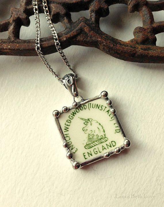 Broken china jewelry pendant necklace vintage Wedgwood china Unicorn backstamp green