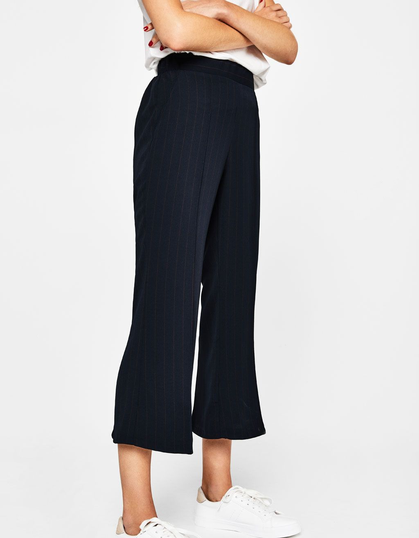 a460a6012056 Cropped wide-leg trousers - Trousers - Bershka Lebanon