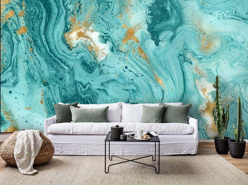 3D Gold foil, Bluetones, Watercolor smudge Wallpaper