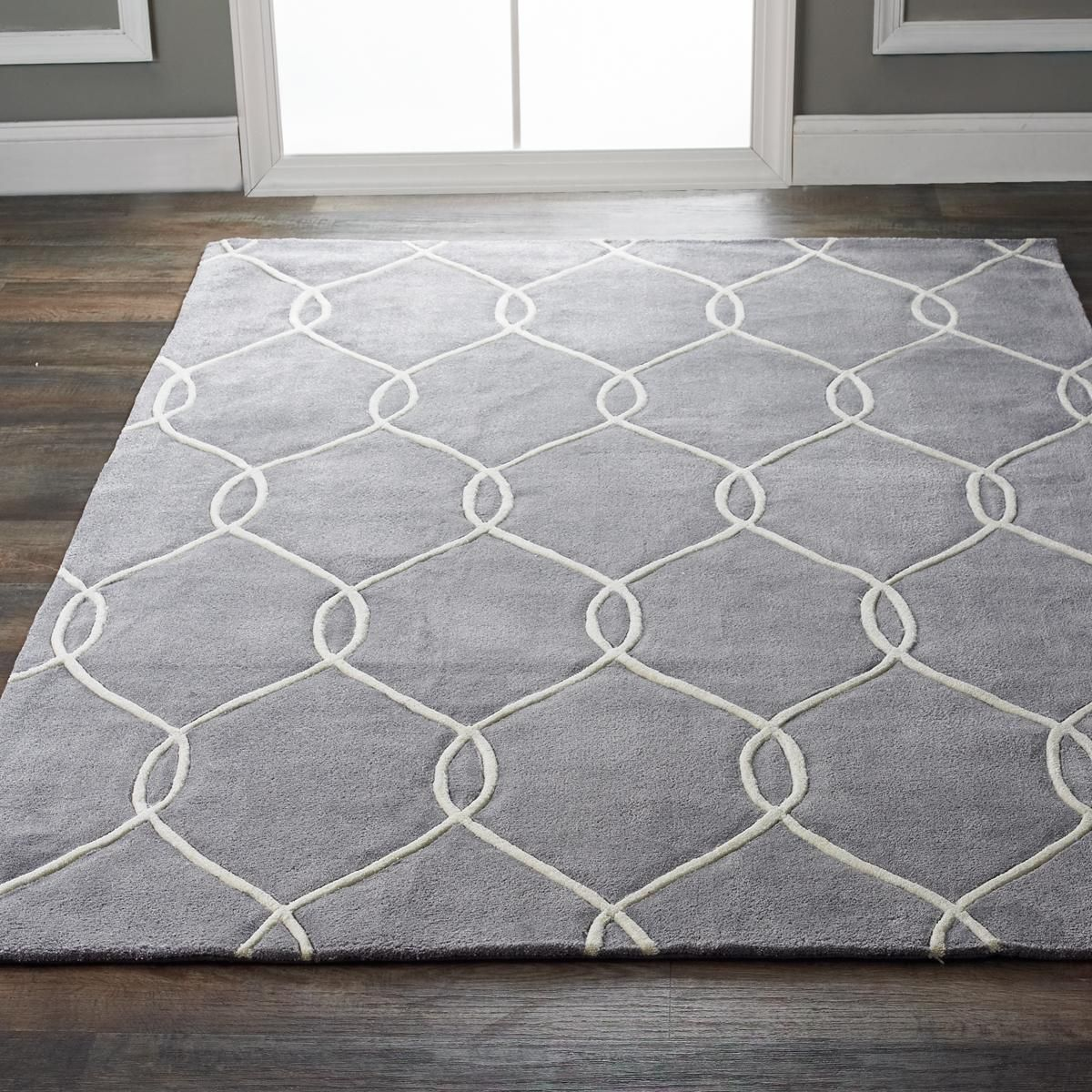 Plush Interlocking Trellis Rug Saturated Color And Chic Geometric Pattern  Make A Bold Statement At An