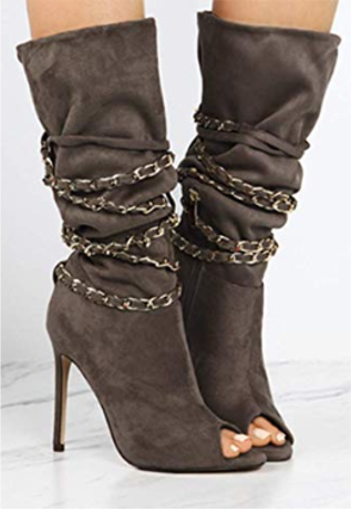 wholesale dealer c09bc f0b0f Herbst Style | Peep Toe Stiefeletten Grau | Ankle Boots High ...