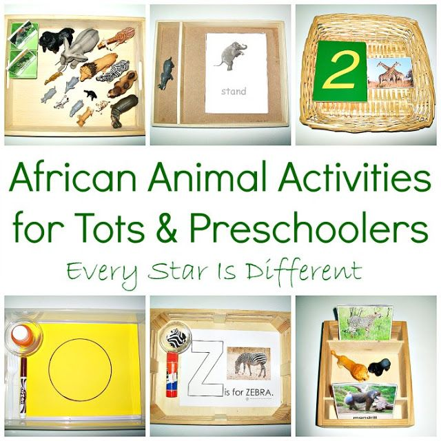 Animals of Africa learning activities and free printables for tots and preschoolers.