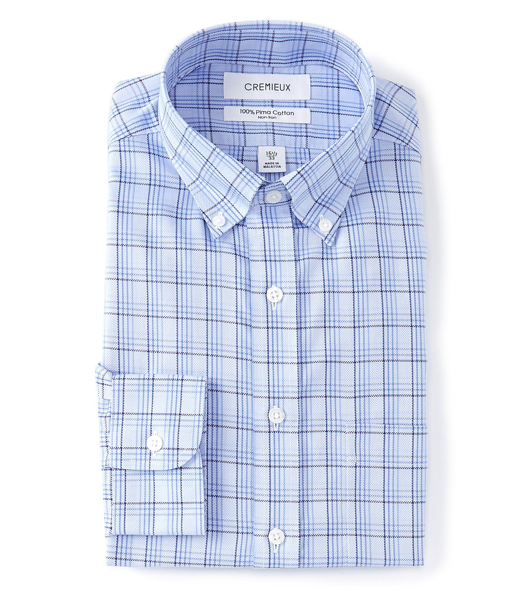 From Cremieux, this dress shirt features:Checked patternbuttondown collarLong sleeves with single-button barrel cuffsbutton-front closureSingle patch pocketBack yoke with box pleat taped shoulder and side seamsCurved hemclassic-fitPima cottonMachine washImported.