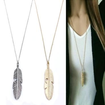 d9b40df7d Simple Classic pendant Necklace Feather Necklace Long Sweater Chain  Statement Jewelry chokerintothea