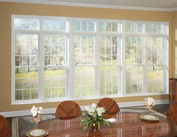 A Beautiful Window Wall Of Mulled Double Hung Windows With