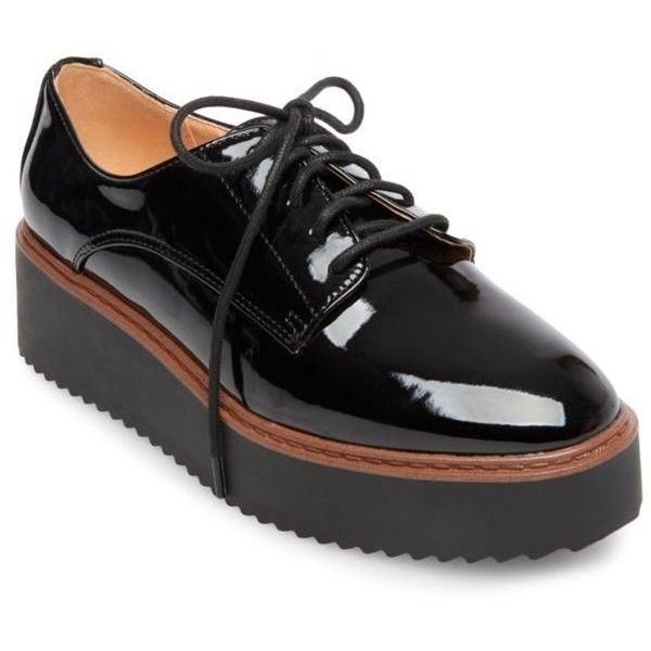 Madden Girl Written Platform Oxford ($40) ❤ liked on Polyvore featuring  shoes, oxfords. Black Patent ...