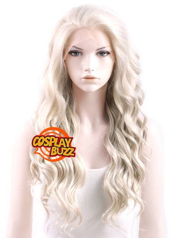 Long Wavy Light Ash Blonde Lace Front Synthetic Hair Wig Lf101