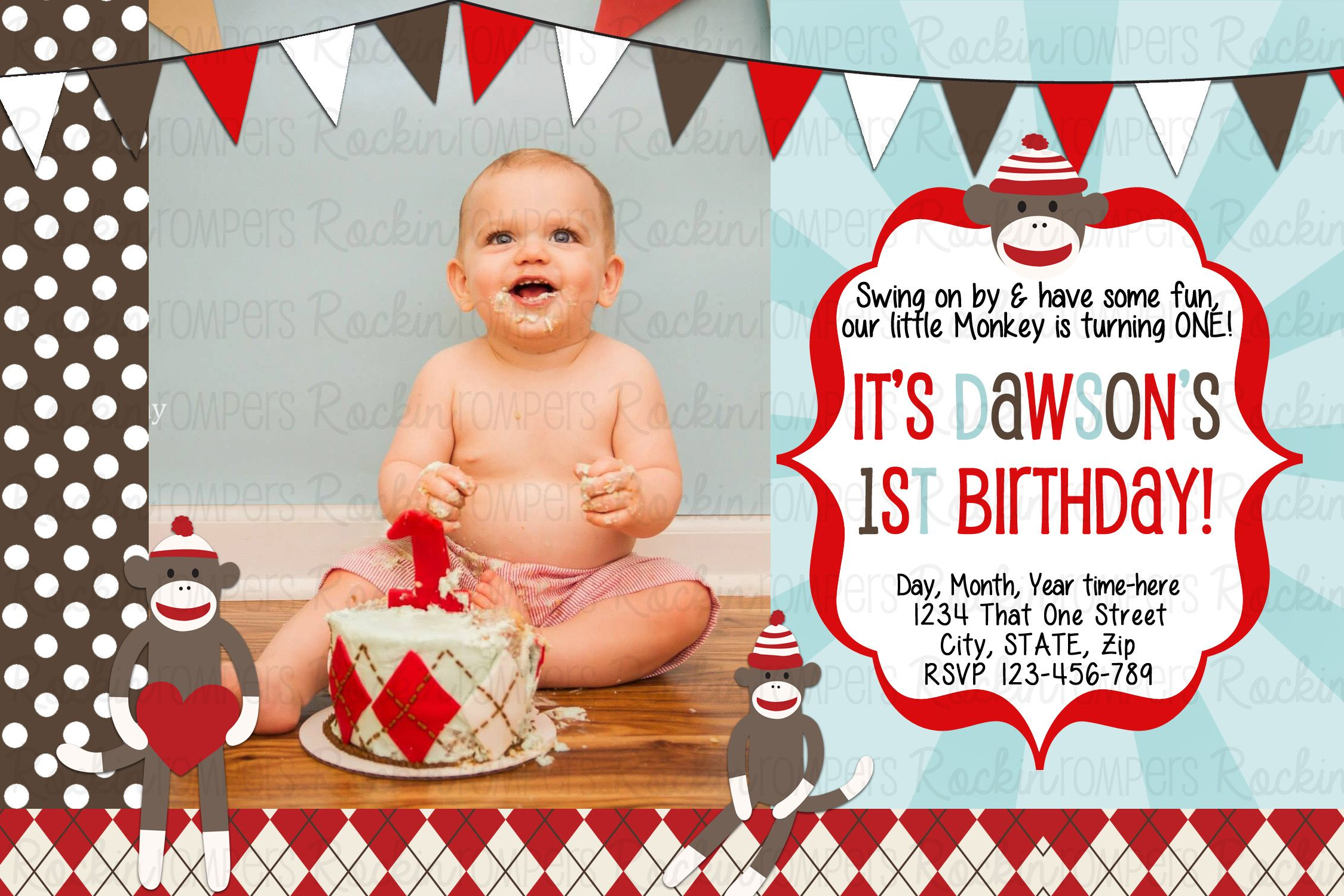 Sock Monkey Birthday Invitation Wwwfacebookcomrockinrompers Wwwetsycom
