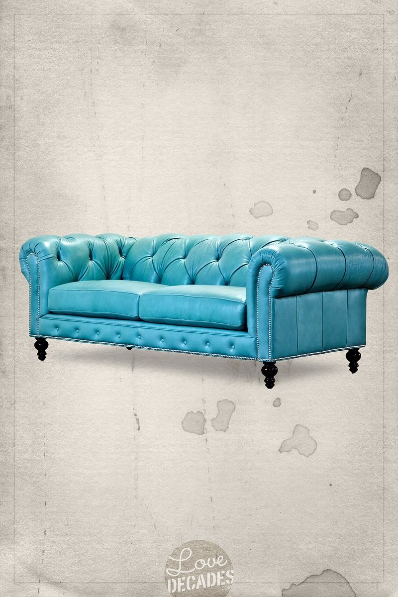 Higgins Chesterfield Sofa In Aqua By Roger And Chris