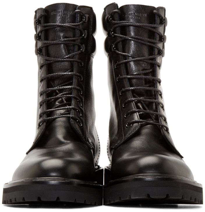 Mens Army Leather Boots Saint Laurent f60d8