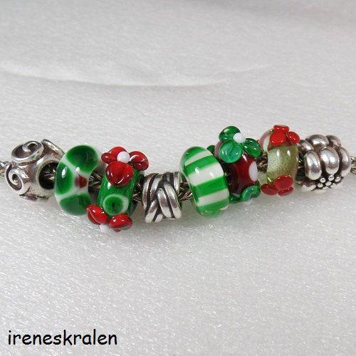 Set Kerst Glas Kralen Lampwork Handgemaakt voor door irenesKralen